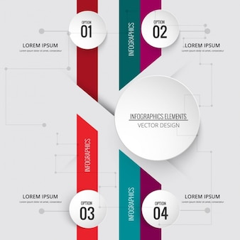 Infografía geométrica con cuatro opciones