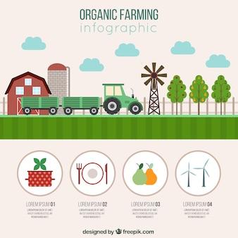 Infografía granja con elemenents orgánicos