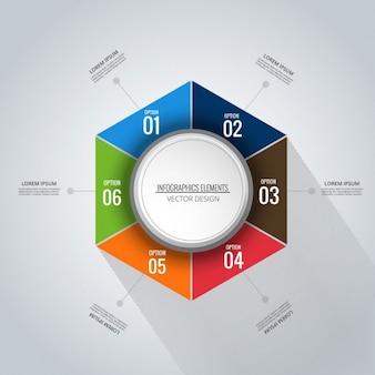 Infografía hexagonal con seis opciones
