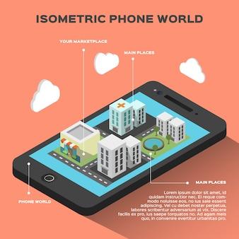 Infografía isométrica de un teléfono inteligente