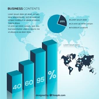 Infografía negocios en tonos azules