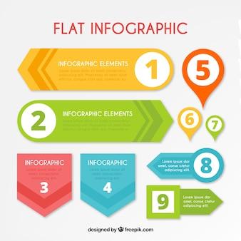 Infografía plana con nueve elementos