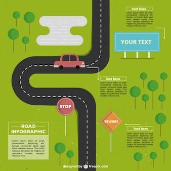 Infografía plana de carretera