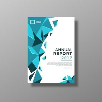 Informe anual con diseño azul y blanco