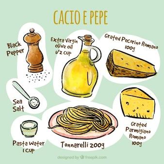 Ingredientes de espaguetis dibujados a mano