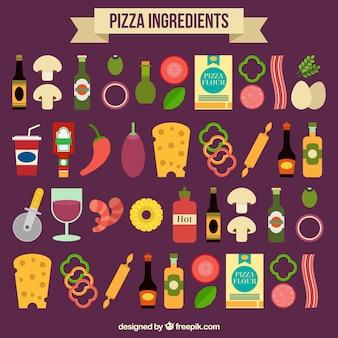 Ingredientes de la pizza sobre un fondo púrpura