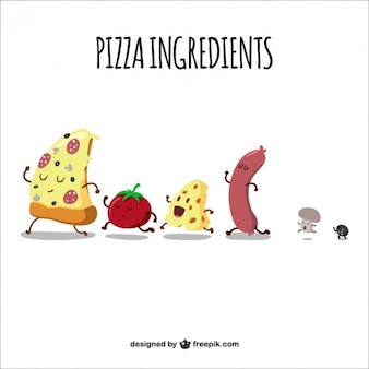 Ingredientes de pizza caminando