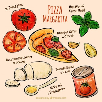 Ingredientes de pizza dibujados a mano