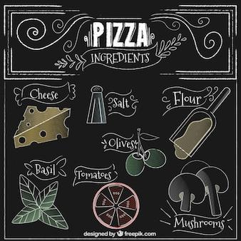 Ingredientes de pizza en estilo vintage dibujados a mano