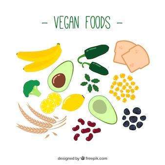 Ingredientes veganos dibujados a mano