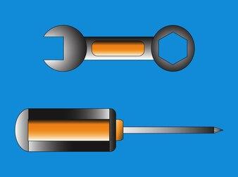 Inicio de construcción de metal herramientas vector