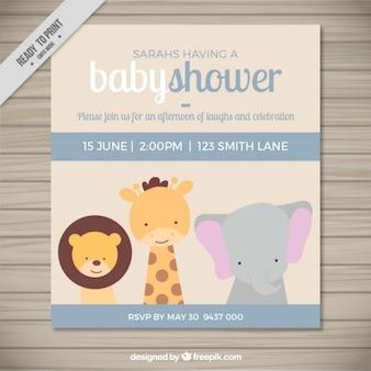 Inivtación para bienvenida de bebé con adorables animales