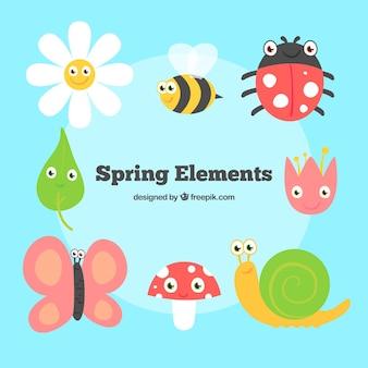 Insectos divertidos y flores en primavera