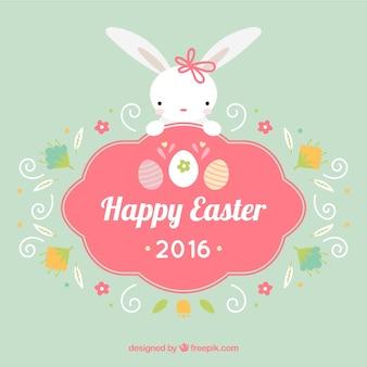 Insignia de feliz Pascua de conejito bonito