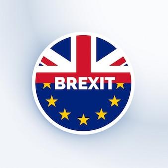 Insignia del brexit con la bandera del reino unido de la unión europea