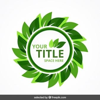 Insignia eco circular con hojas