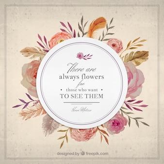 Insignia elegante de flores vintage con una frase de naturaleza