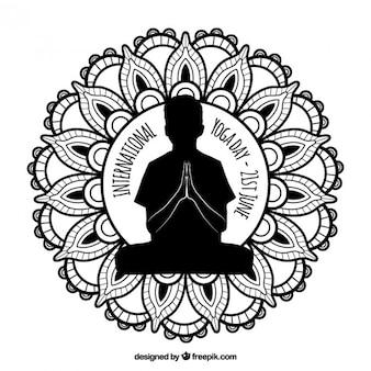 Insignia ornamental del día internacional de yoga