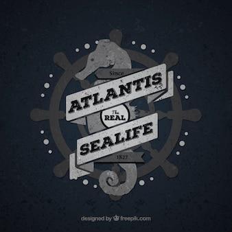 Insignia vintage de vida marina