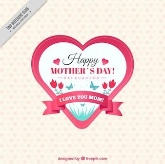 Insignia vintage del día de la madre en forma de corazón
