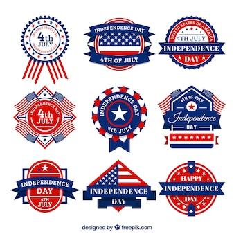 Insignias americanas decorativas en diseño vintage