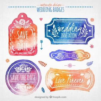 Insignias bonitas de boda de acuarela