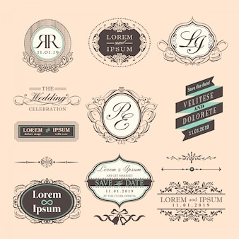 Insignias de boda con ornamentos, estilo vintage