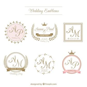 insignias de boda retro en estilo ornamental