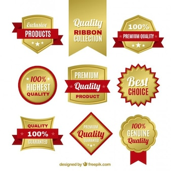 Insignias de calidad doradas