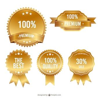 Insignias de calidad premium doradas