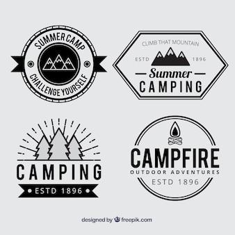 insignias de campamento de verano en blanco y negro