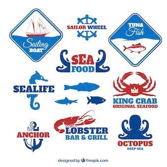 Insignias de comida de mar
