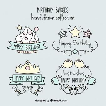 Insignias de cumpleaños simpáticas y divertidas dibujadas a mano