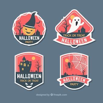 Insignias de halloween en cuatro colores