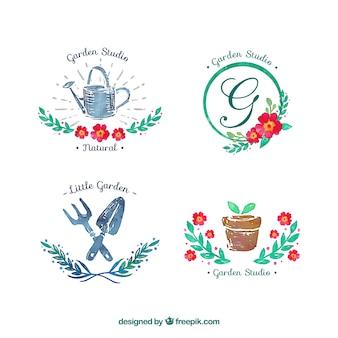 Insignias de jardín de acuarela