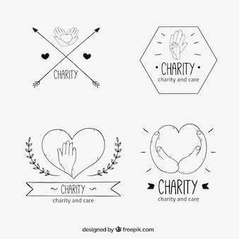 Insignias de organización benéfica dibujada a mano