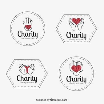 Insignias de organizaciones benéficas dibujadas a mano