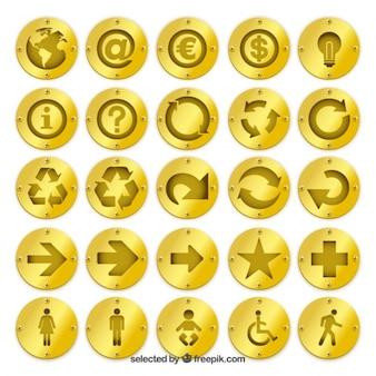 Insignias de oro con iconos
