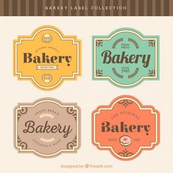 Insignias de panadería con marcos estilo retro