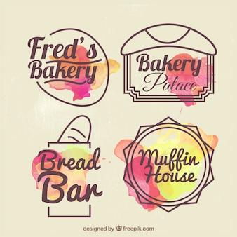 Insignias de panadería dibujadas a mano con efecto acuarela