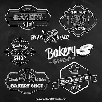 Insignias de panadería en estilo pizarra