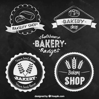 Insignias de pizarra vintage de panadería