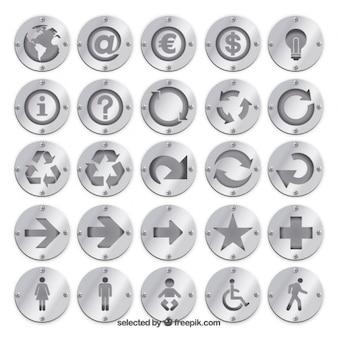 Insignias de plata con iconos