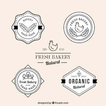 Insignias de productos frescos de panadería