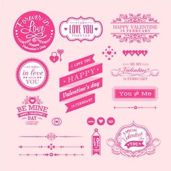 Insignias de san valentín sobre un fondo rosa