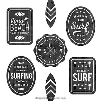 Insignias de surf de acuarela negra