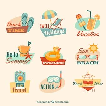 insignias de verano en la playa