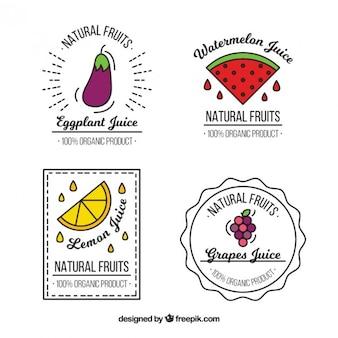 Insignias de verdura y frutas dibujadas a mano