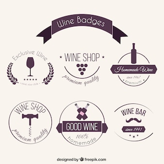 Insignias de vino bonitas dibujadas a mano
