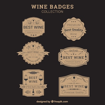 Insignias de vino en diseño vintage